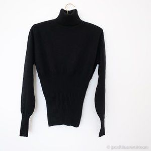 Black Cashmere Turtleneck with Ribbed Waist & Cuff